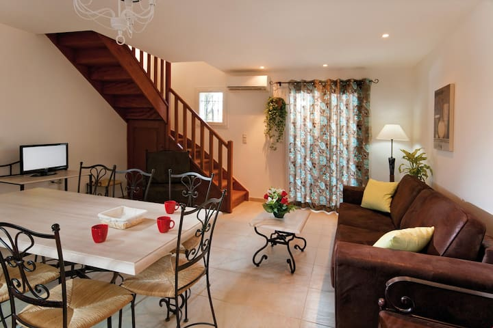 The two-storey home is spacious and can sleep larger parties.