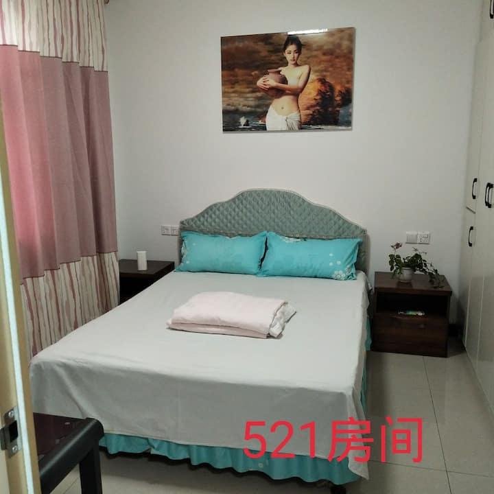 日月民宿轻奢爱巢521房间,干净整洁卫生,独立单间带独立卫生间