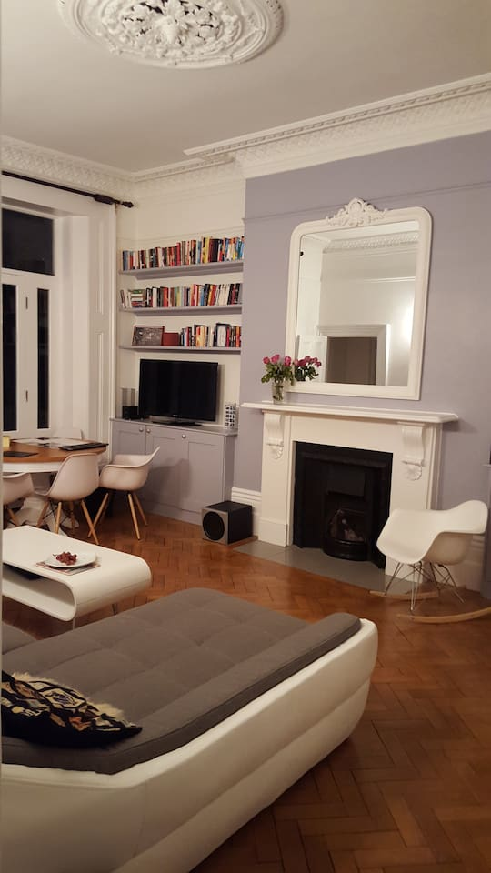 Living: fireplace, coffee table, TV