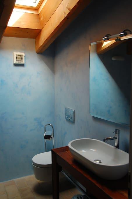 Bagno blu con doccia