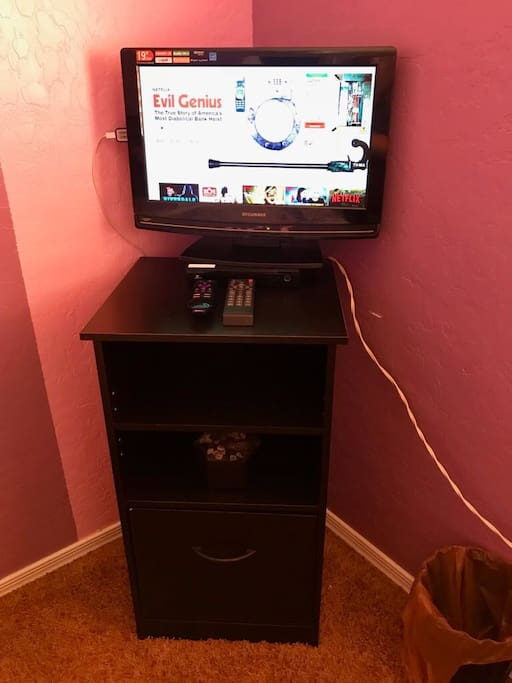 TV with Netflix and trash can.