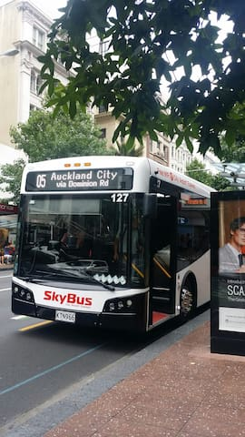 Airport skybus stops right outside