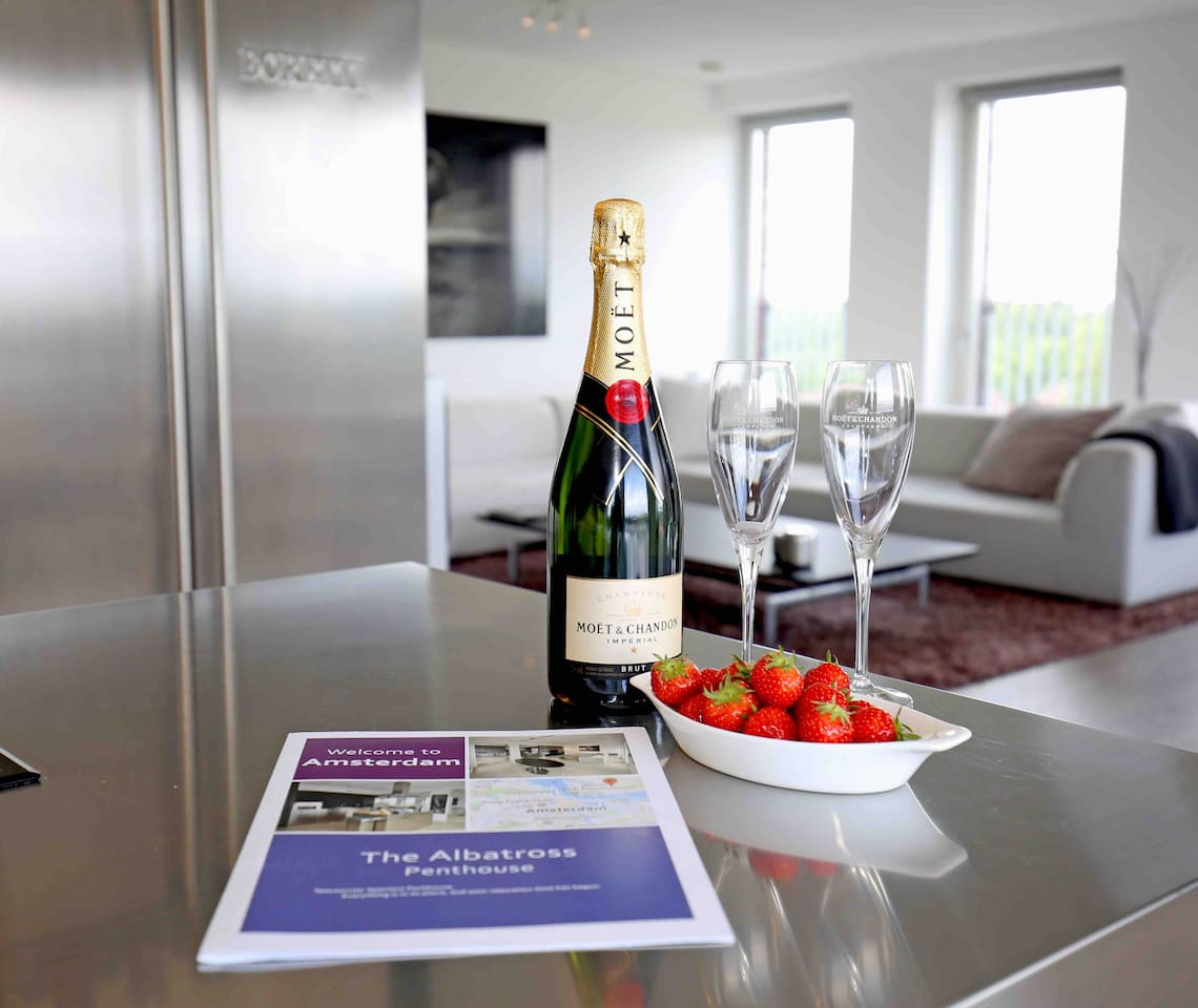 Enjoy a bottle of champagne as a welcome gift from us.