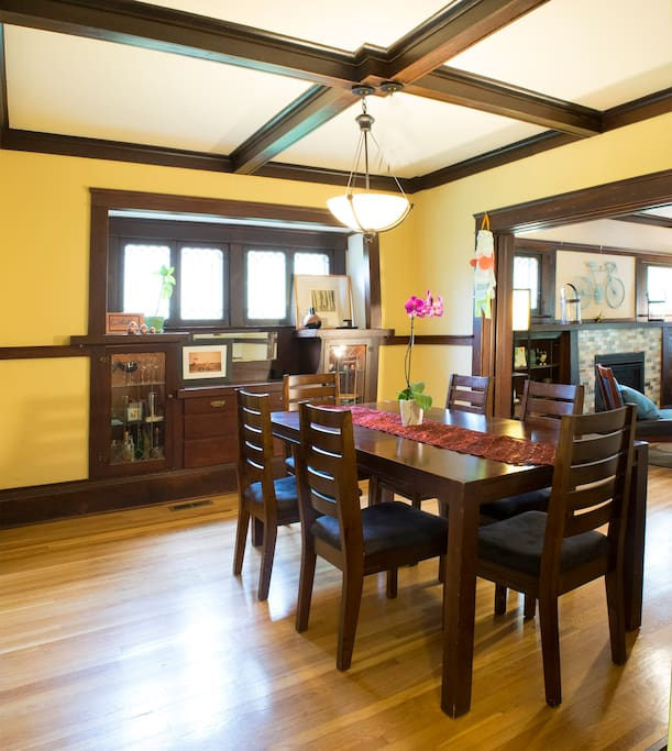 Dining room with leaded glass and pocket doors between living room and dining room