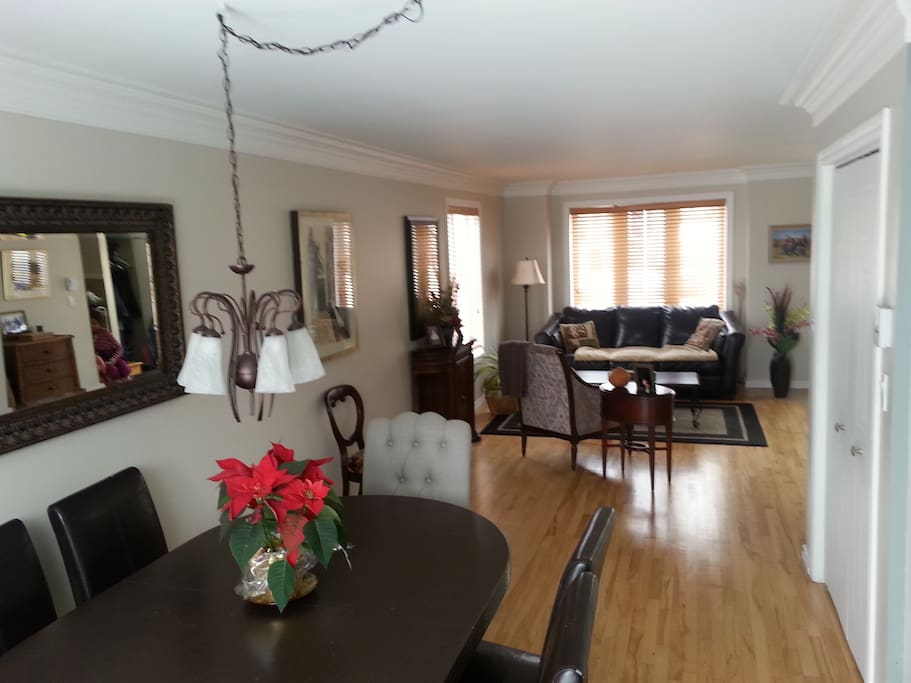 Our open concept living and dining room