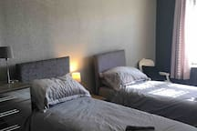 Large twin or double room & private shower room
