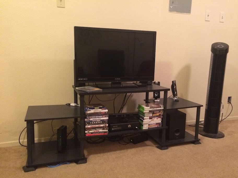 Entertainment Center with TV, Xbox, Bluetooth Speaker