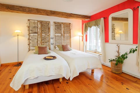 Ribeaufontaine:Chambre lits jumeaux