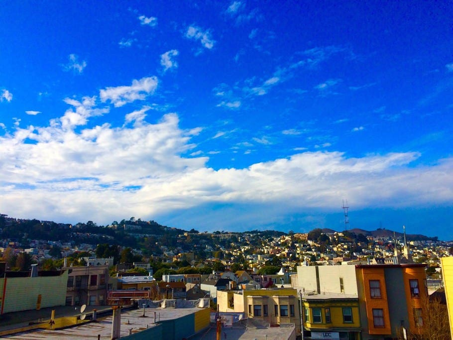 View from the kitchen. Sutro Tower on top of the hill.