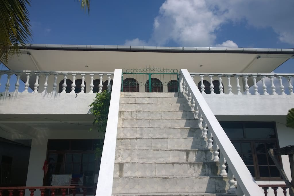 Stairs to the large terrace at the back