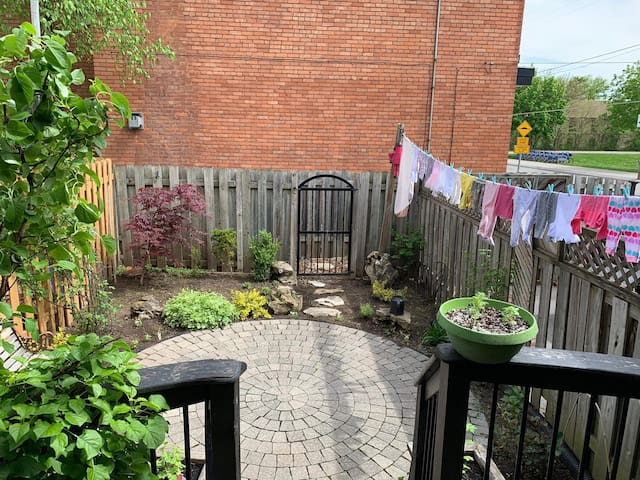 beautiful backyard with a deck