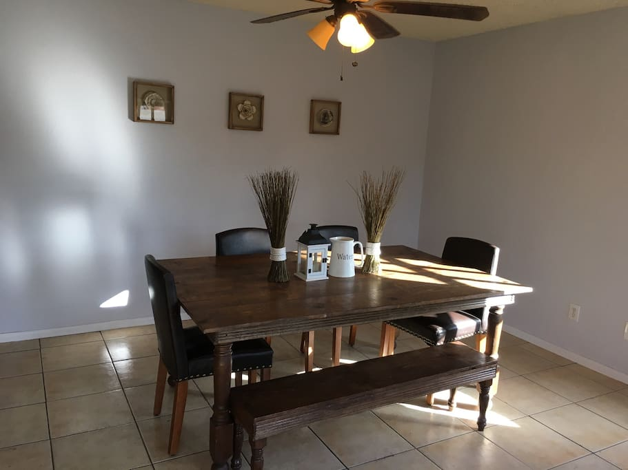 Dining Room includes a custom built dining table with room for seven. High chairs available on request.