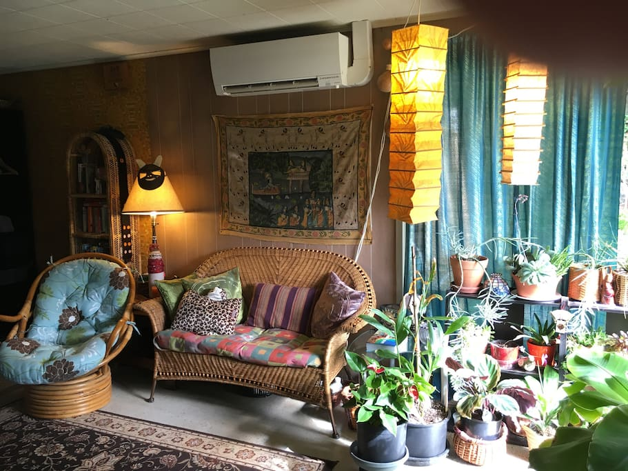 The guest room is eclectic and cozy. It has an energy efficient heat pump (it heats and cools!).