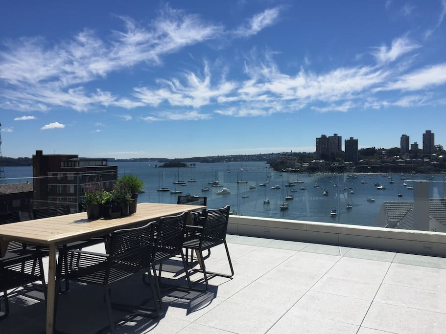 Our fantastic terrace overlooks Rushcutters Bay