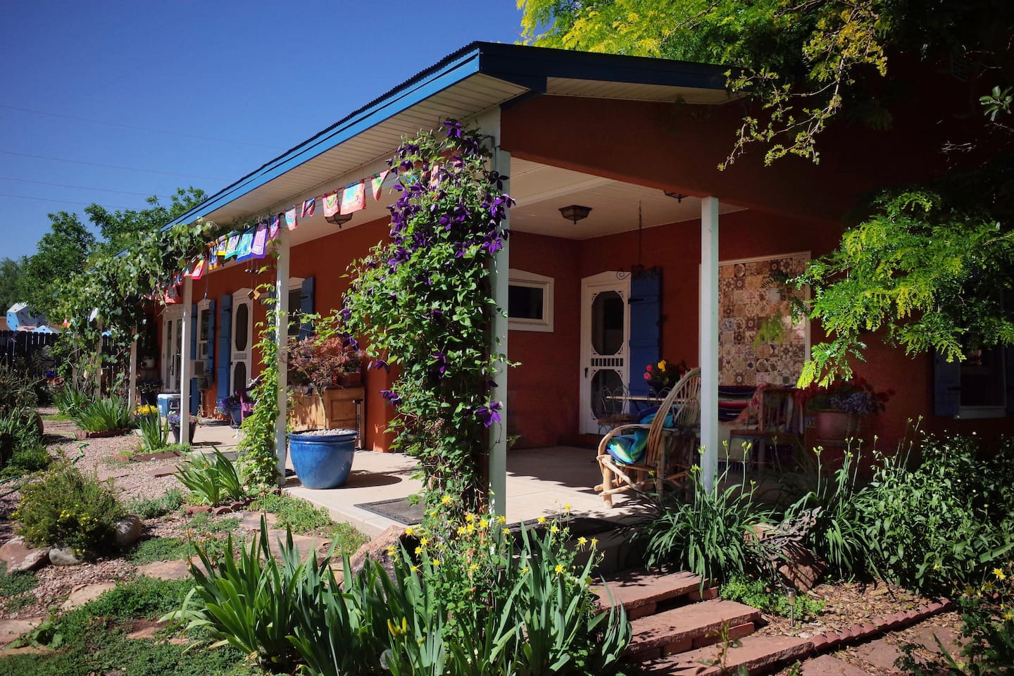 The La Veta Studio Guesthouse is part of a territorial style New Mexico adobe.