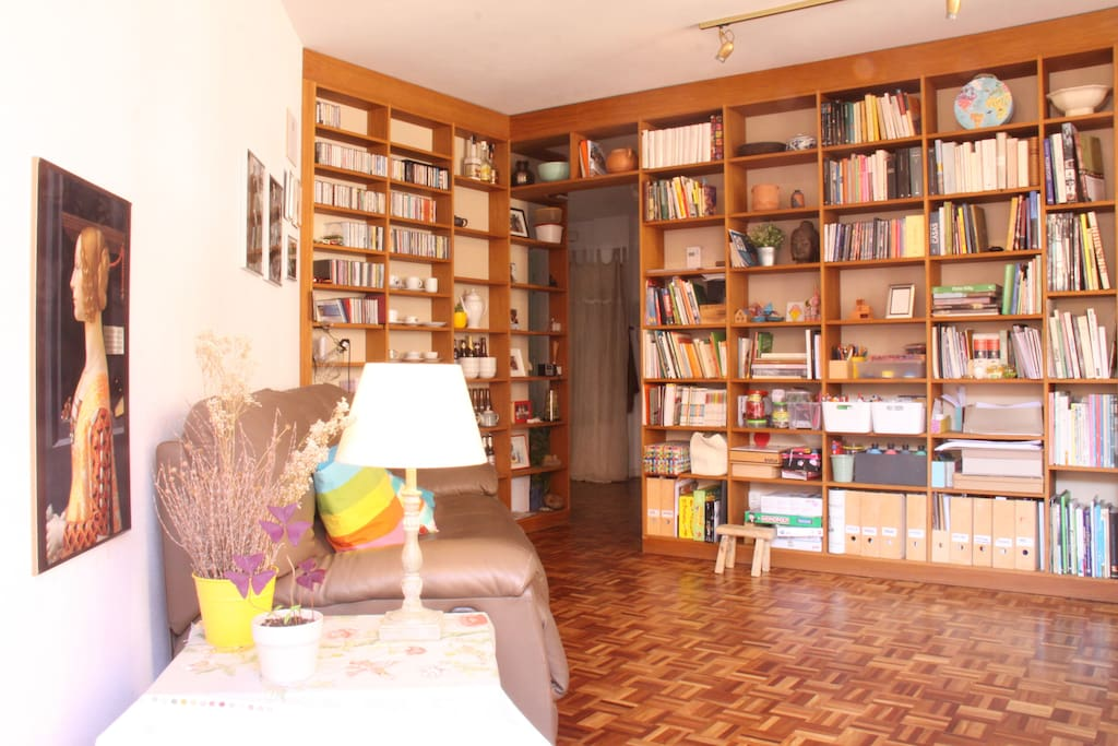 Living room, library