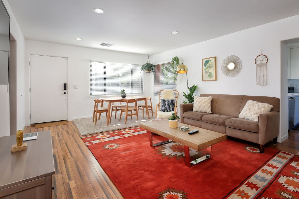 The upstairs living room has a beautiful seating area, perfect for entertaining