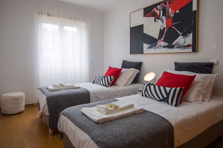 Double bedroom - 2 comfortable single beds which, upon request, can be setup together for a double use.
