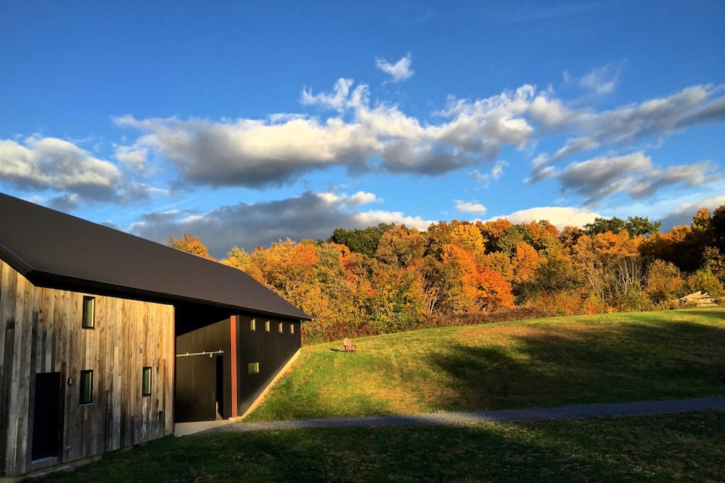 Fall view of the barn and farm-stay