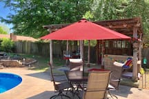 poolside dining set provides seating for 4