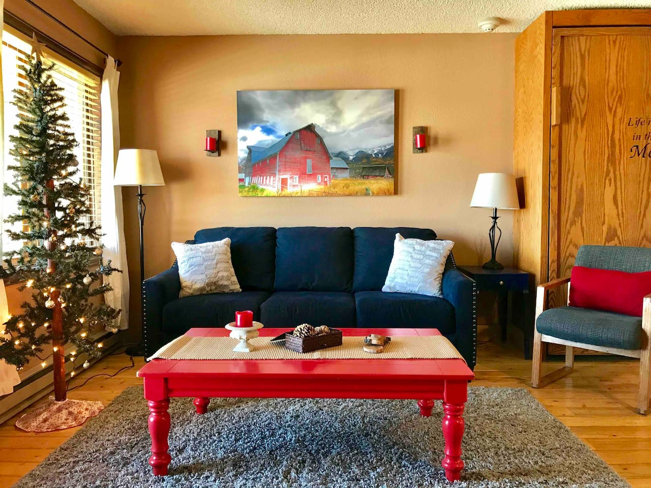 Holiday tree available after Thanksgiving Day!  Ground floor Studio with patio walk out,  full size kitchen, Full size Bathroom, Fireplace (Prefab logs only), Queen Murphy bed, Queen Pull out Sofa.