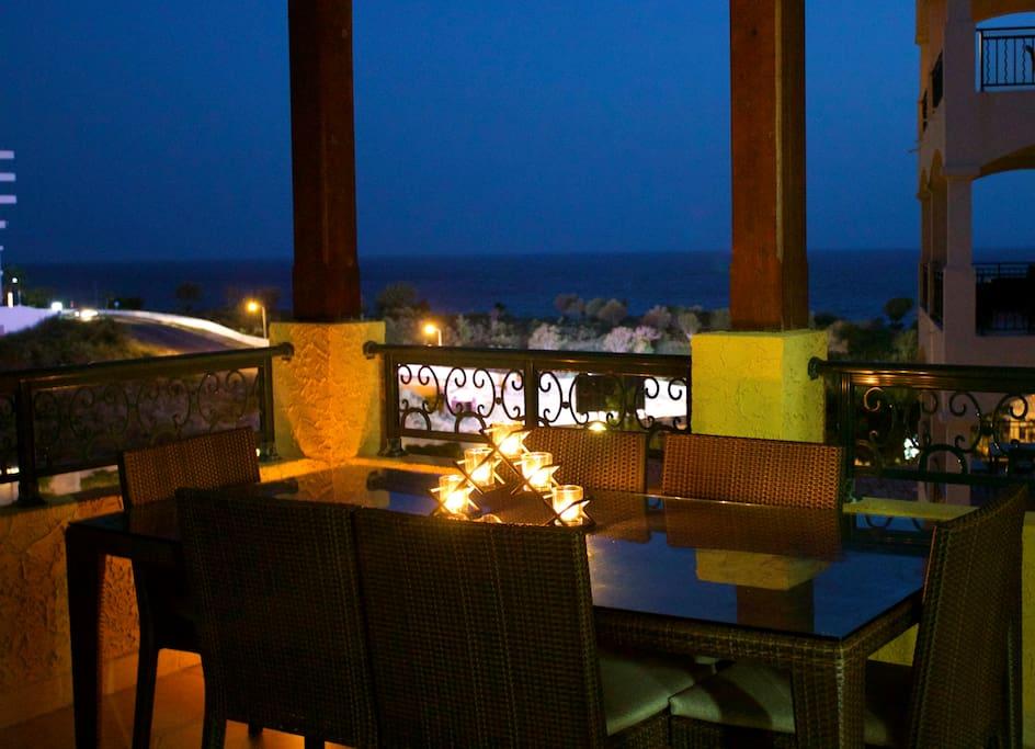 Terrace Dinning Area at night