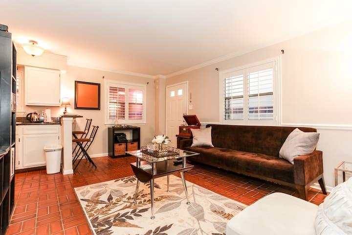 Open-designed living room/kitchen