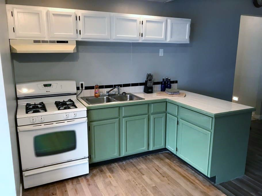 Kitchen with newly refinished cabinets