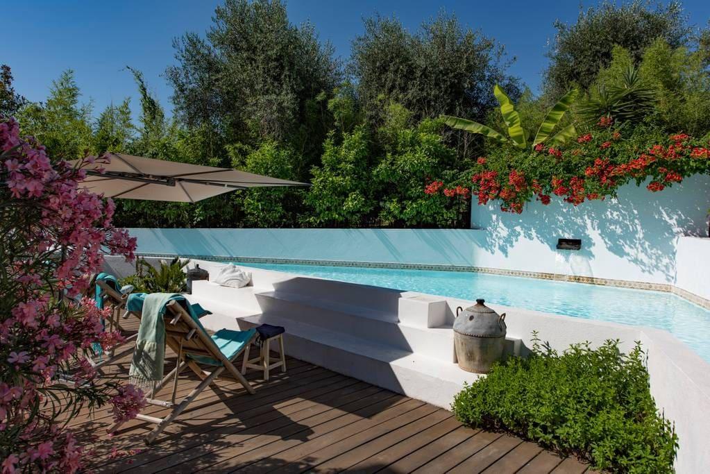 piscine originale , la menthe, le bananier et les bambous vous transportent à l'autre bout du monde