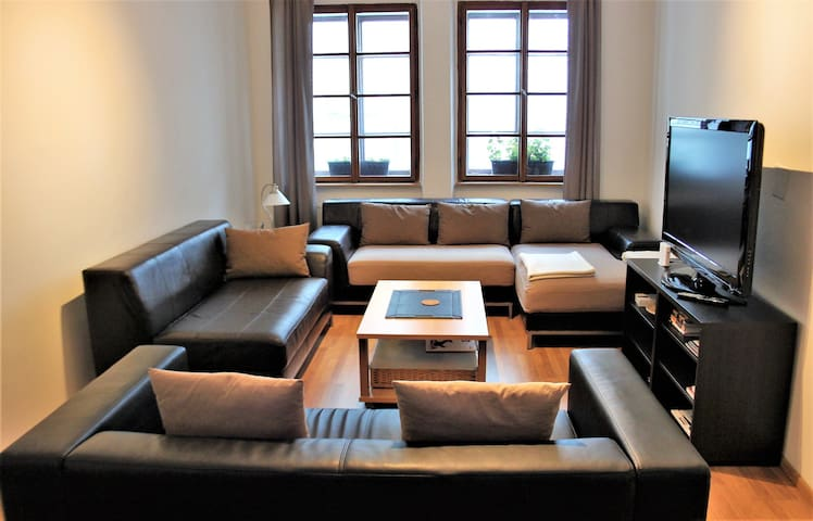 Living Room sectional pieces can quickly form a comfortable double bed...and the living room closes off for privacy.