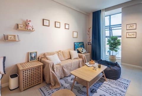 咪咪酱民宿 池州市 贵池区 九华山 香港城 日式 舒适风 投影 影院 大床房