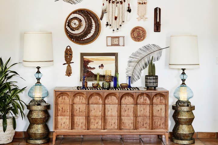 A collection of Scottsdale's finest antique finds sets the mood in the living room.