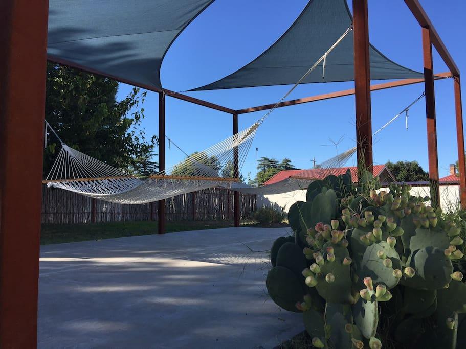 hammocks & sunshades on concrete patio