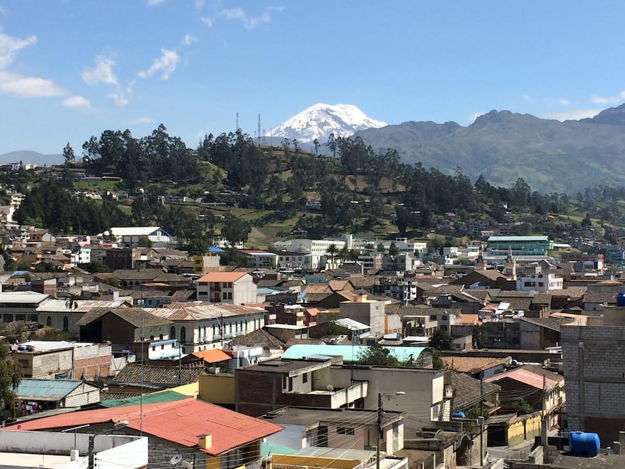 View from the house over Guaranda to the Chimborazo