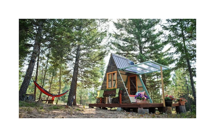 Tiny A-frame on 100+ forest acres near Missoula