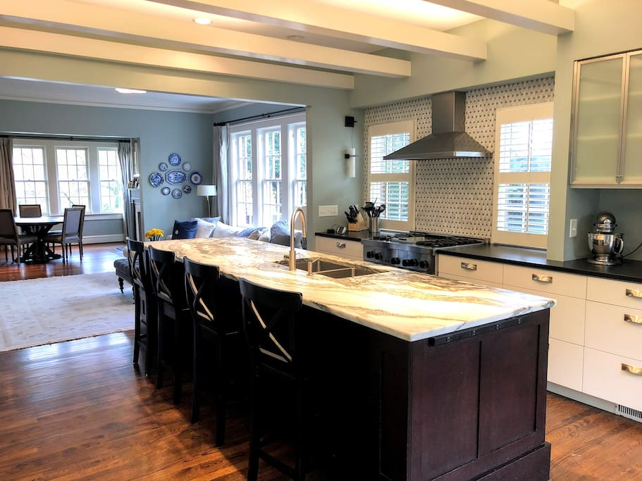 Open concept kitchen comes with top-of-the-line appliances
