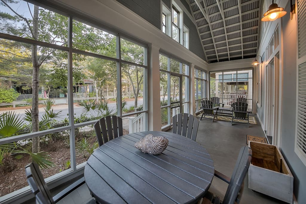 Watercolor - Large screened front porch, the perfect spot for enjoying coffee.