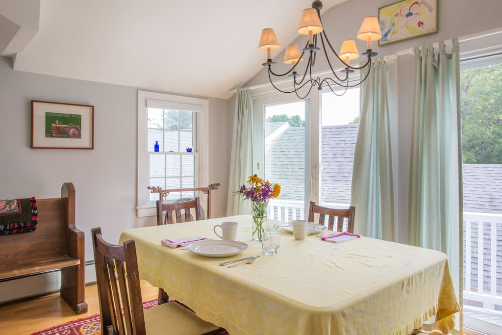 Breakfast in a bright and airy dining area.