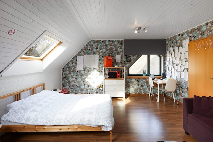 Large room/studio in Brugge with free bicycles.