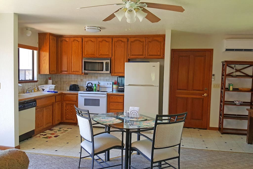 The kitchen is completely stocked with all you need to prepare your own meals. Tea and Keurig coffees are provided.