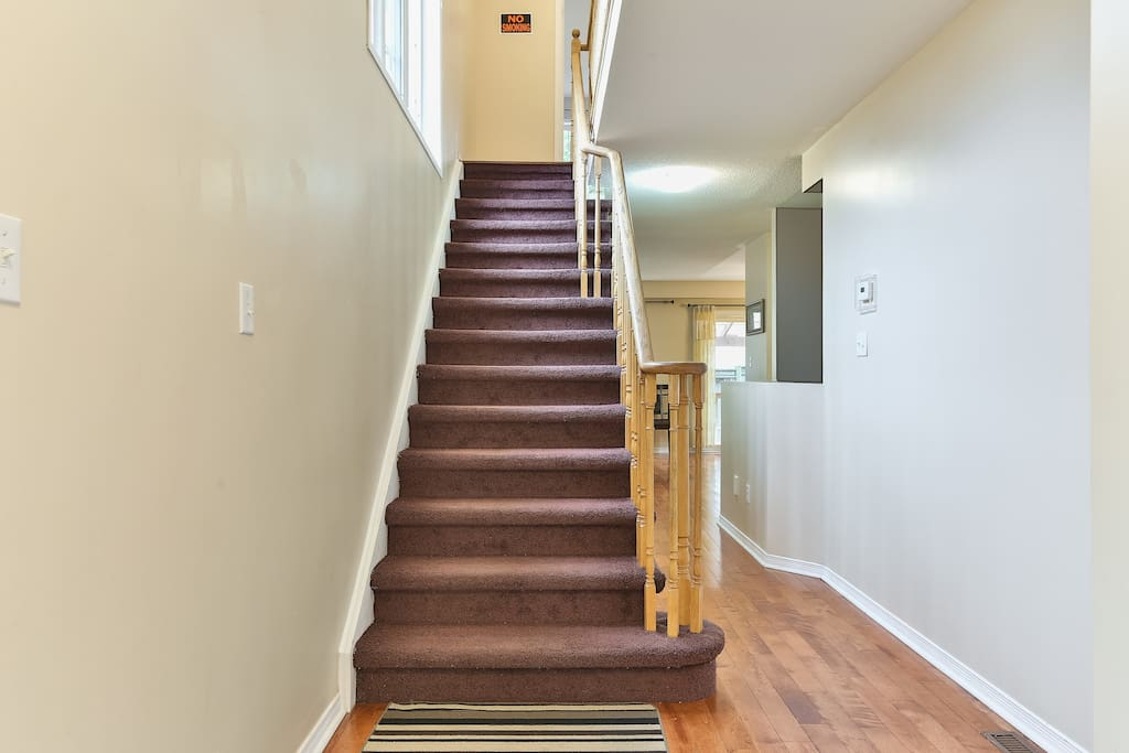 Stairs leading to bedrooms #1 #2 and #3 and the bathroom.