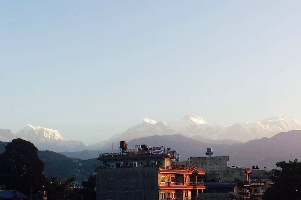 View of Annapurna range from our home.