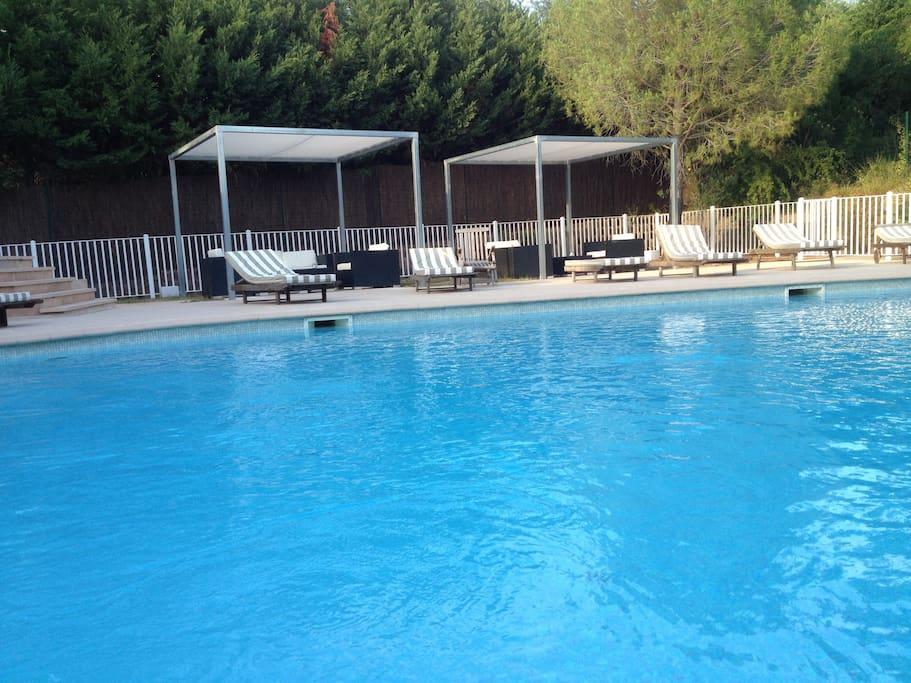 Grande piscine calme devant le logement