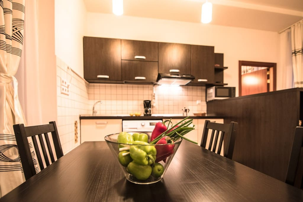 Dining area for 4, with open-space kitchen