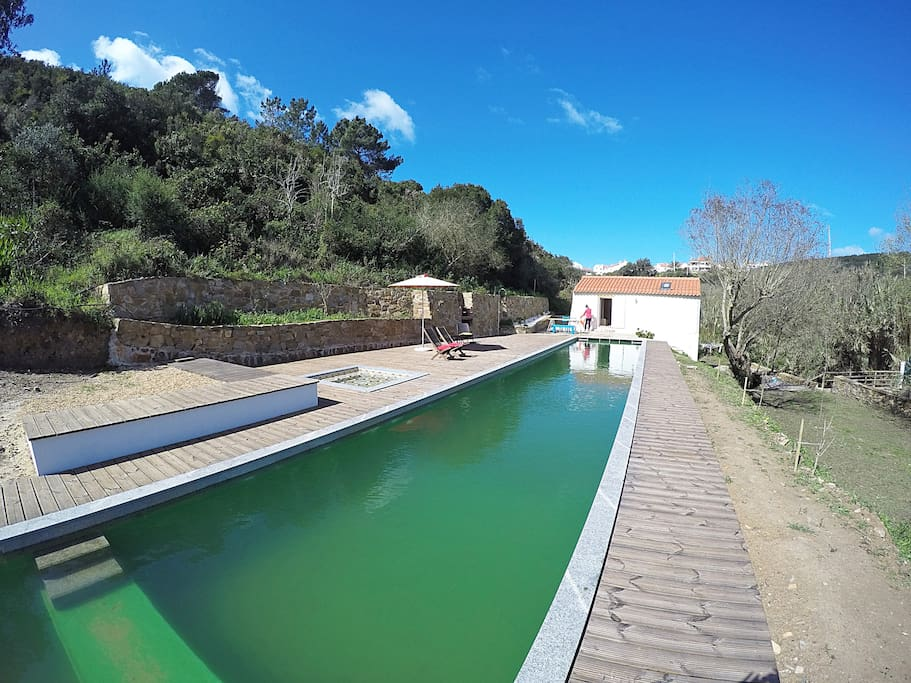 View over the mill, wooden deck and an amazing 30m-long bio-swimming pool. The upper patio features outdoors dinning table, barbecue, and chill-out area