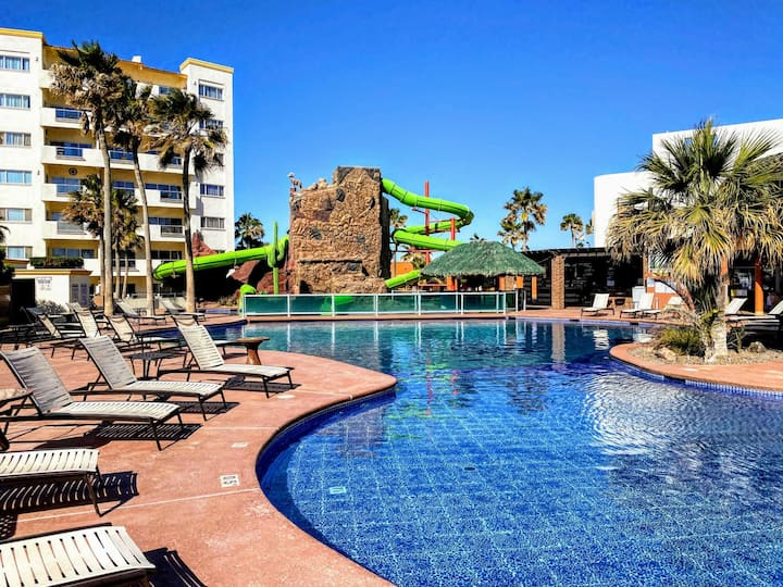 Sandy Beach Condo @ Las Palmas Oceanfront Resort with waterslide