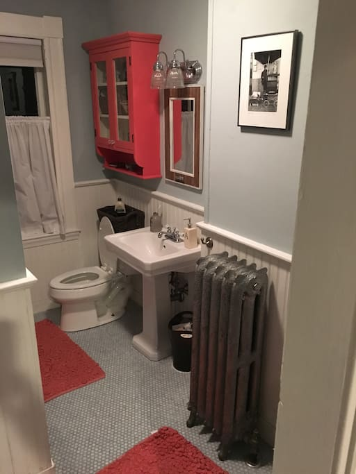 Downstairs bathroom with washer & dryer
