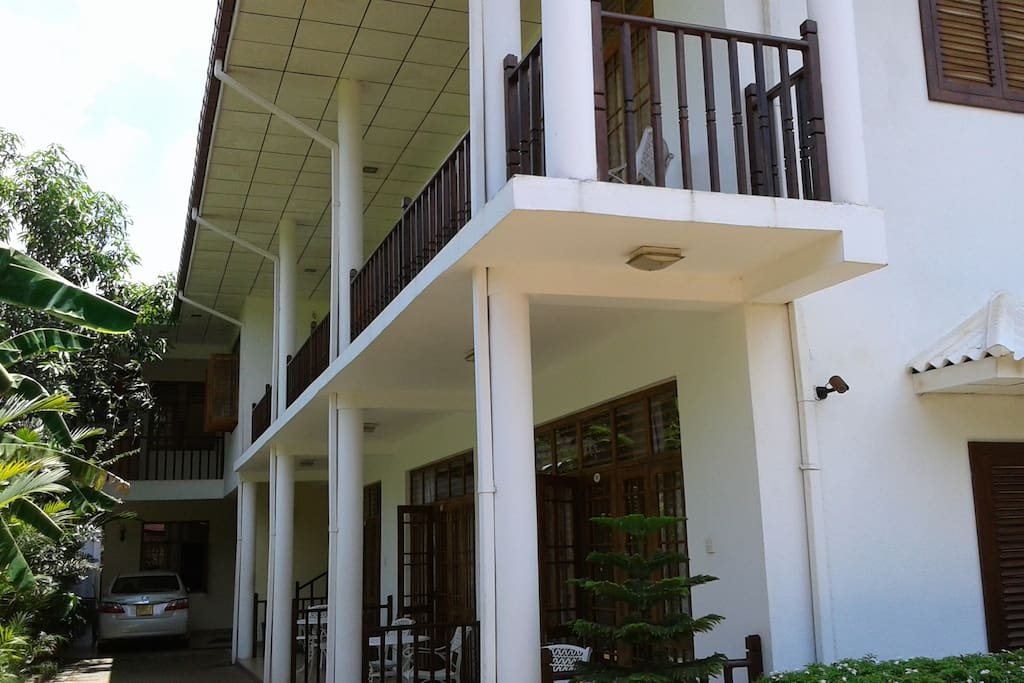 upper floor rooms have balconies and lower ground floors also have seating areas outside
