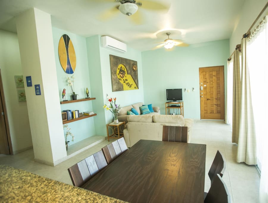 The kitchen and living space are comfortable and inviting.
