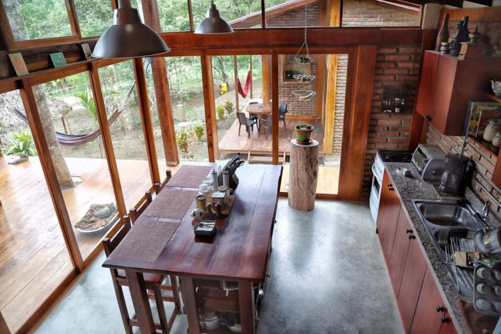 Rustic lunch counter and sliding doors